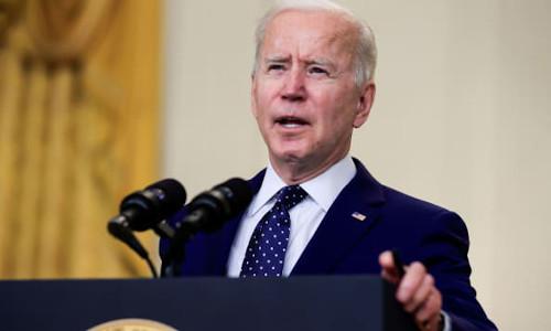 U.S. President Joe Biden delivering remarks on Russia, April 15, 2021.